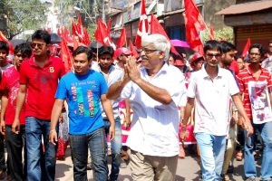 CPI-M candidate for upcoming 2014 Lok Sabha Election from Jadavpur constituency, Sujan Chakraborty during an election campaign in Kolkata on March 30, 2014. (Photo: Kuntal Chakrabarty/IANS)